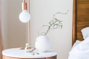 Lamp next to bed